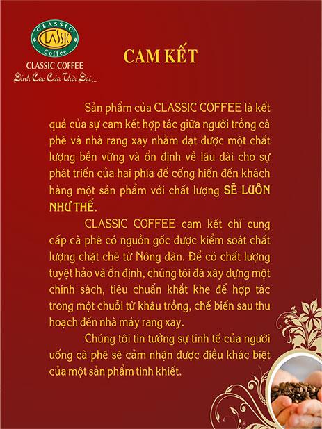 Classic Coffee cam kết với khách hàng
