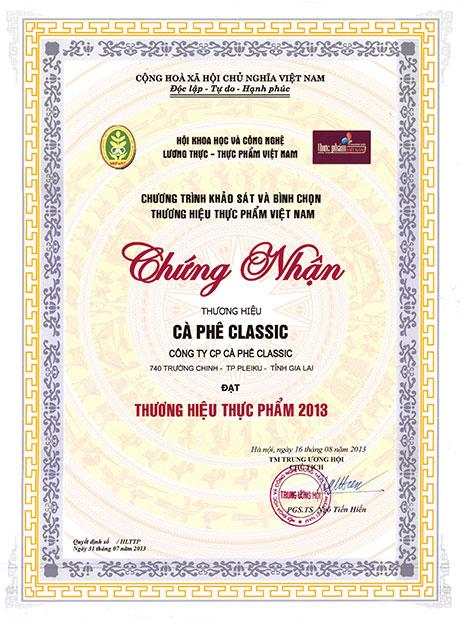 Classic Coffee đạt chứng nhận thương hiệu thực phẩm năm 2013
