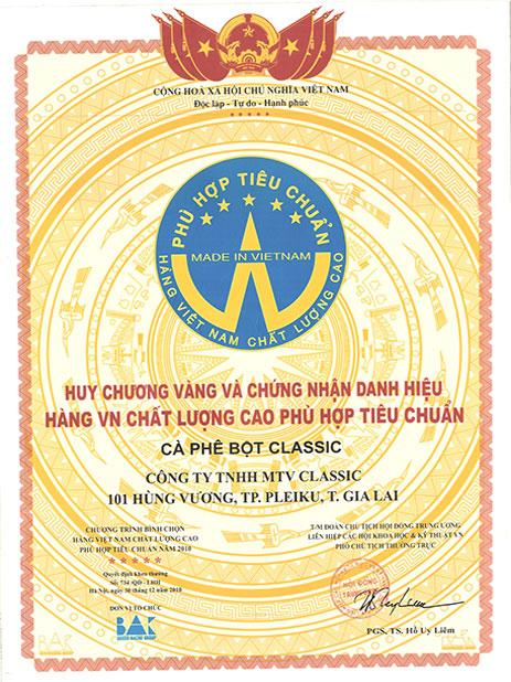 Classic Coffee Hđạt huy chương vàng Việt Nam chất lượng cao